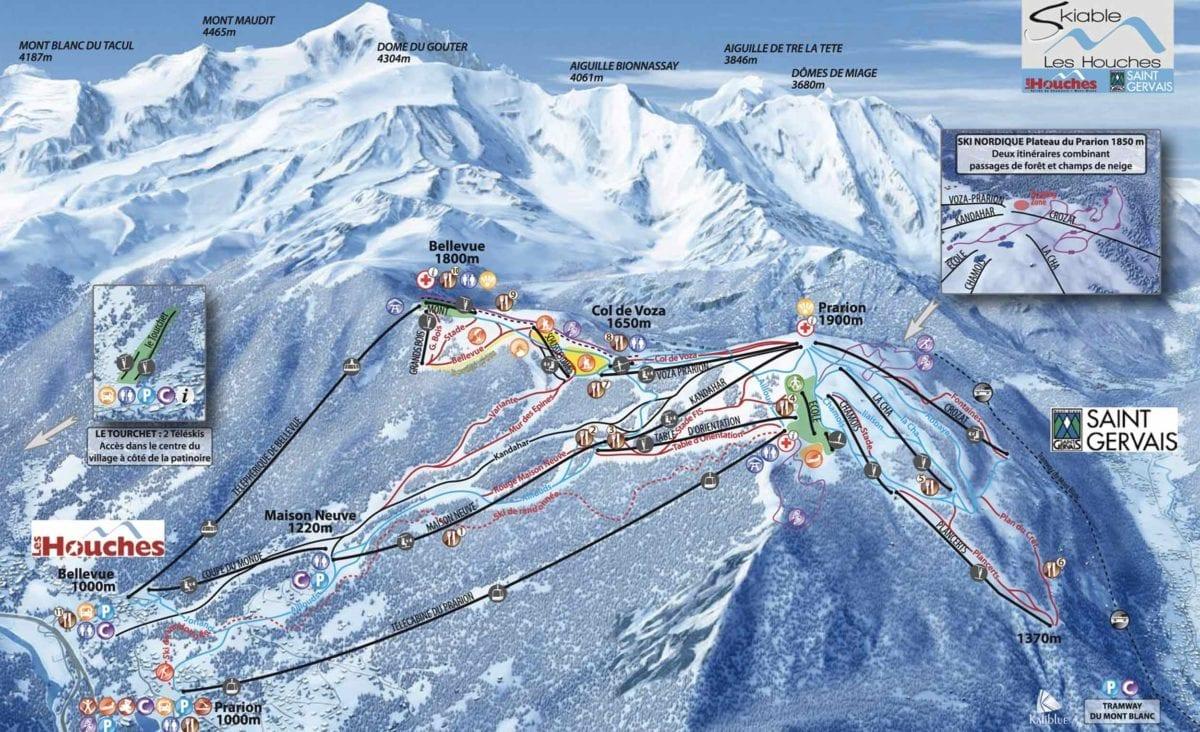 Les Houches trail map - chamonix