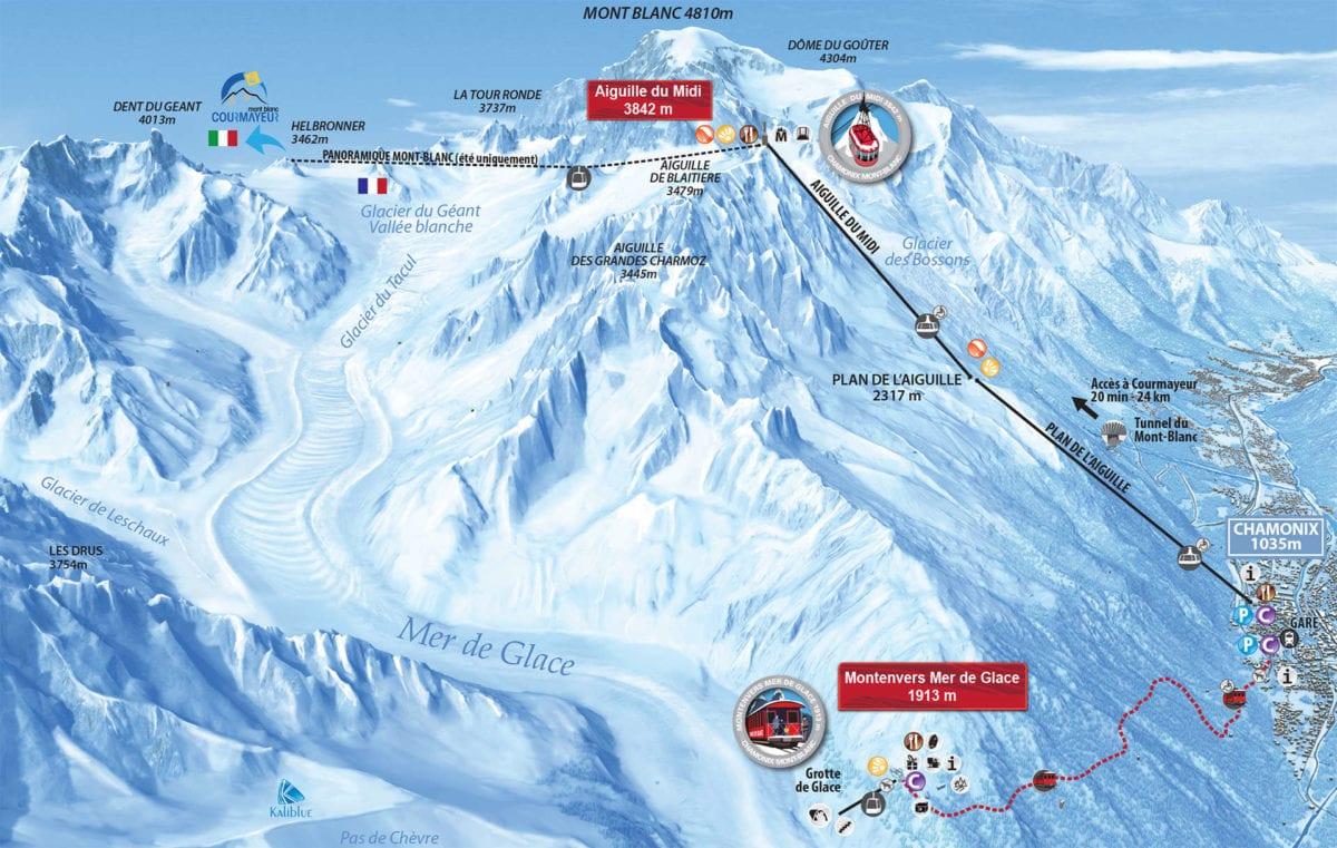 Aiguille du Midi map - Chamonix