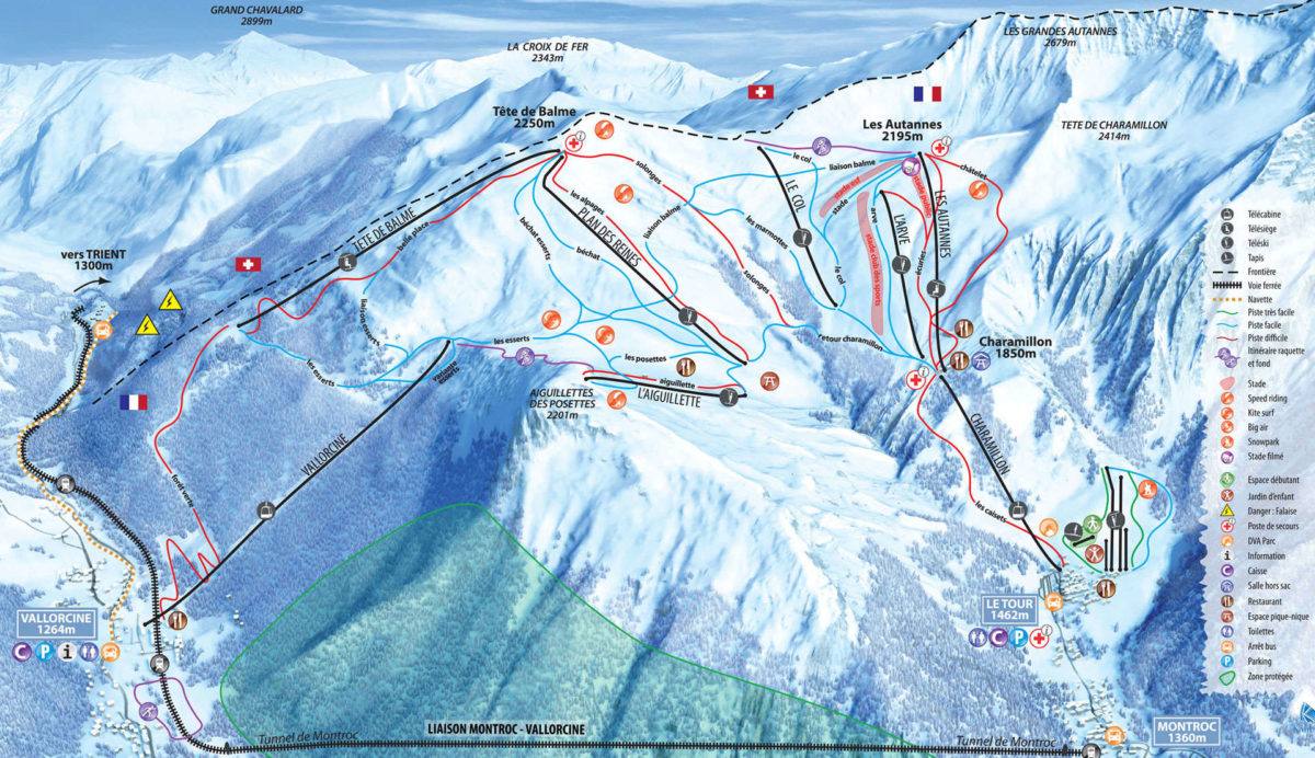 Balme - Vallorcine trail map