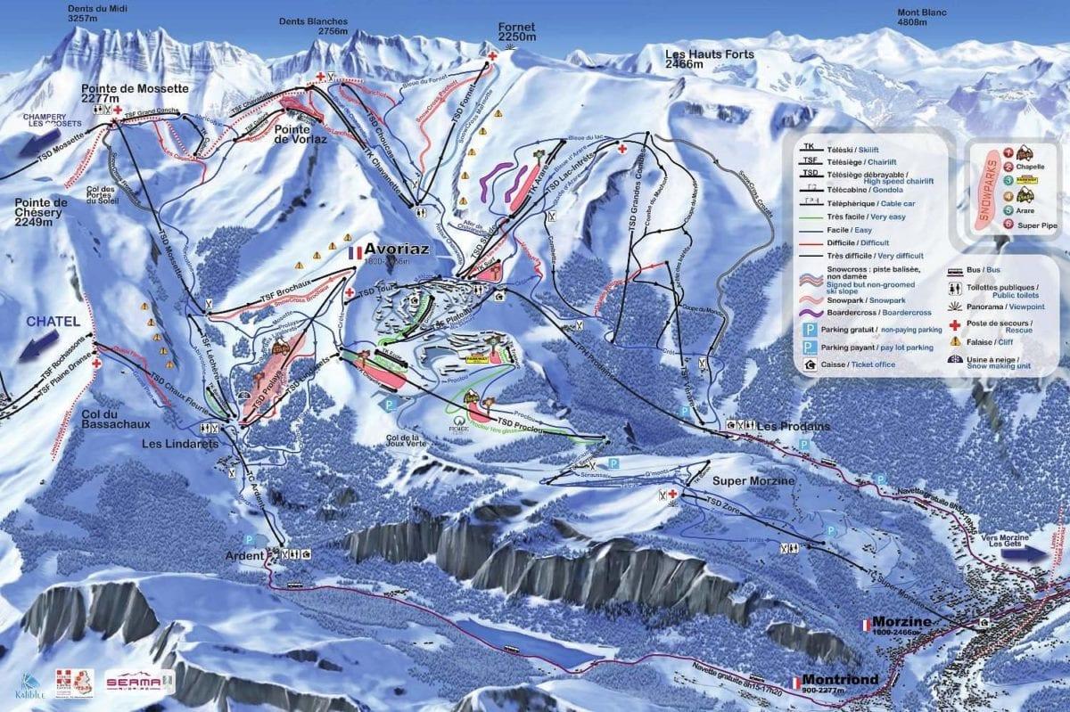 Avoriaz Morzine trail map