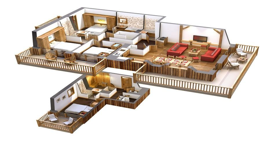 La Source des Arcs plan-5-pieces sauna-duplex-HD-1