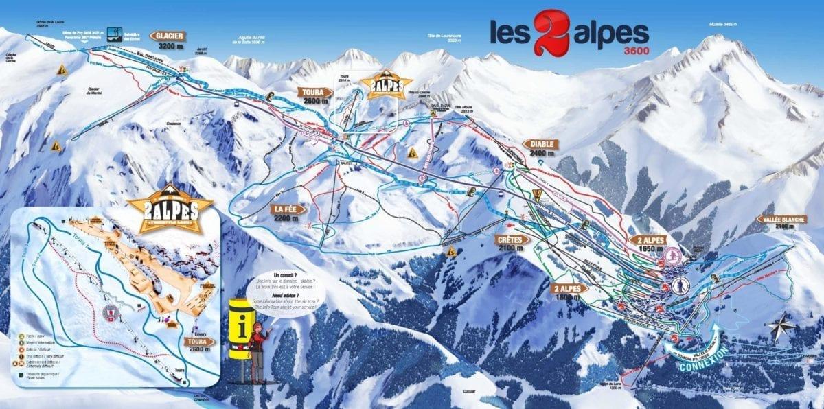 Les Deux Alpes trail map