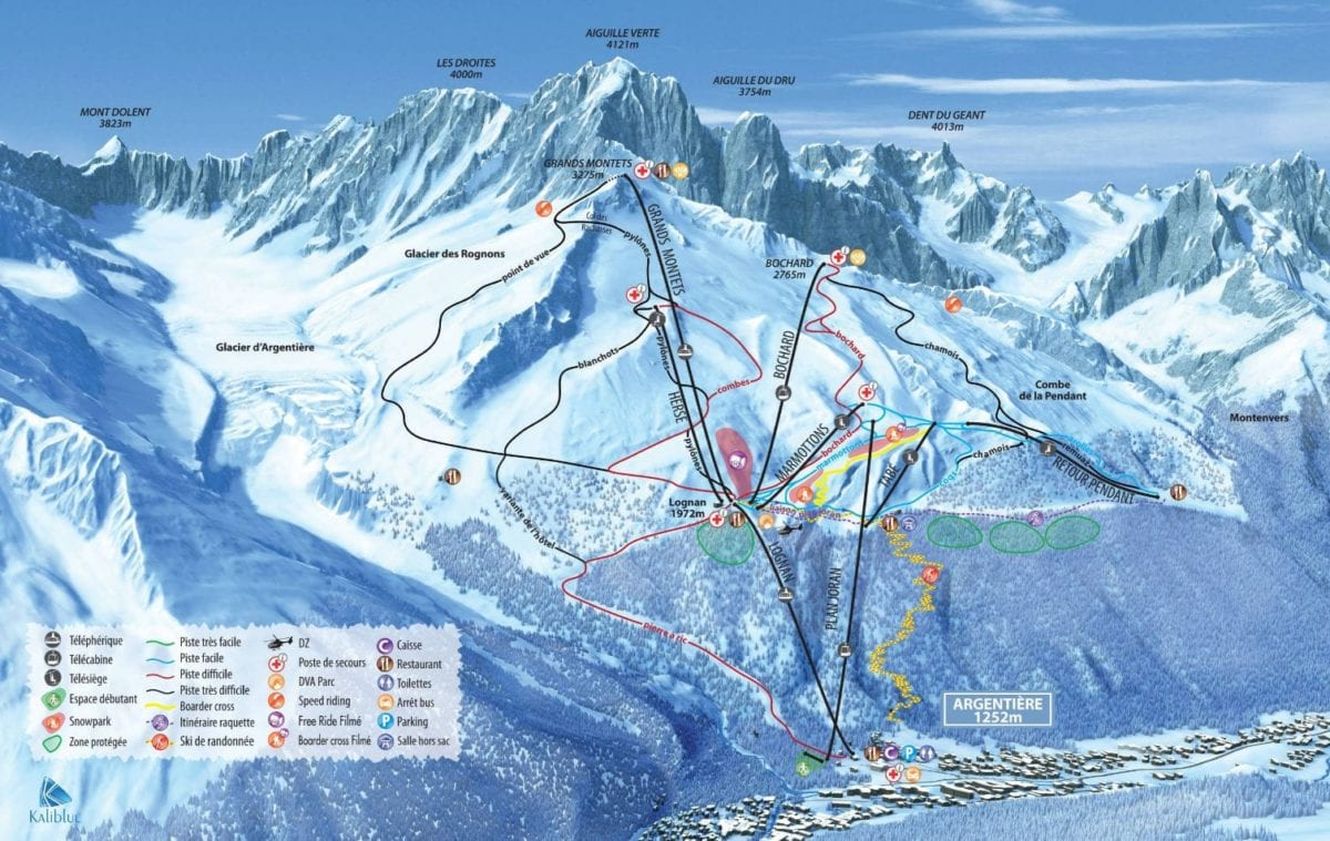 Grands Montets Trail Map Chamonix