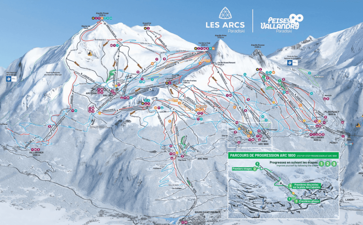 Les Arcs Peisey Vallandry Trail Map