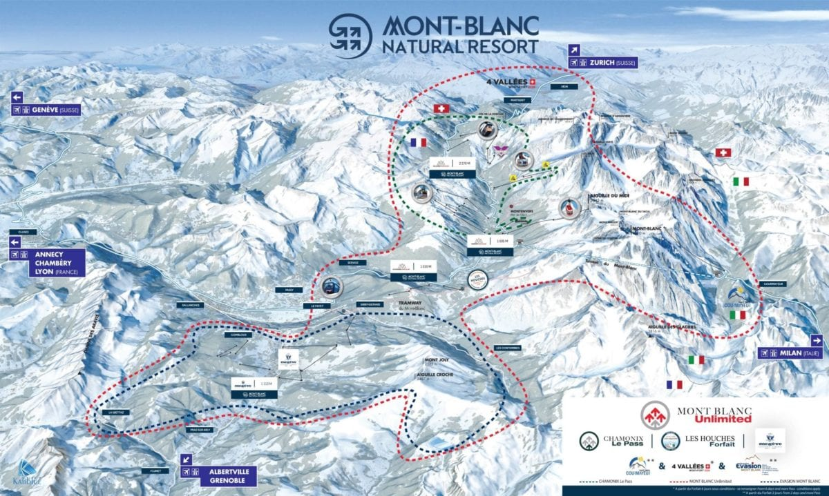 Mont Blanc Unlimited Ski Area Map