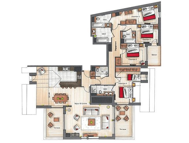 Keystone Lodge 4 Bedroom Penthouse C18 Courchevel Moriond (1650) Floor Plan