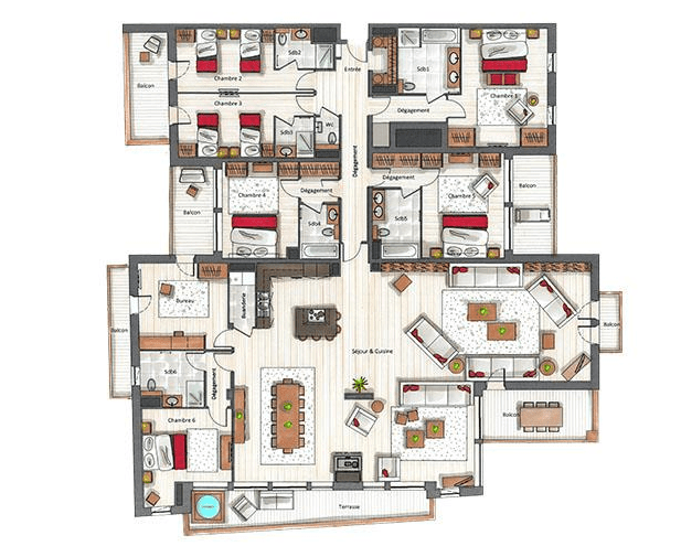 Keystone Lodge 6 Bedroom Apartment C09 Courchevel Moriond Floor Plan
