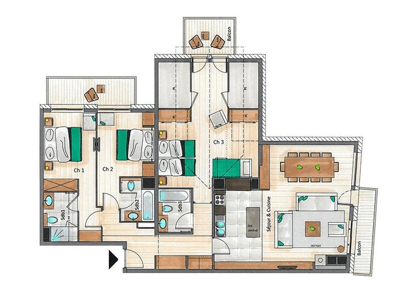 Mammoth Lodge 3 Bedroom D10 Penthouse Floor Plan