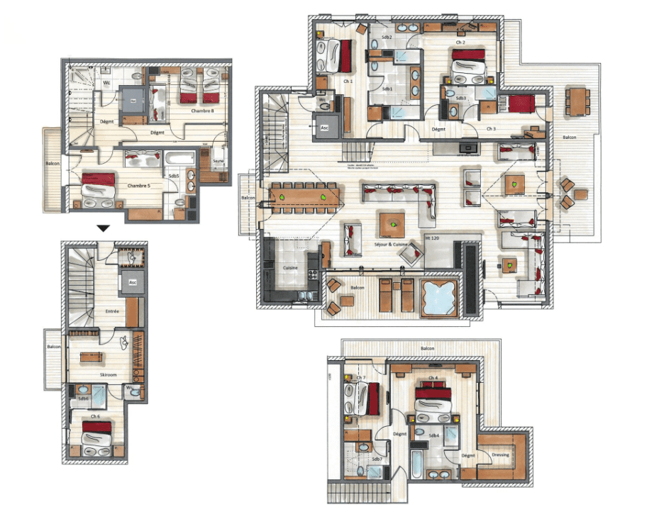 Mammoth Lodge 8 Bedroom D15 Penthouse Courchevel Moriond Floor Plan