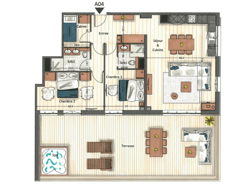 Manali Lodge 2 Bedroom + Cabin Lhotse Suite Floor Plan