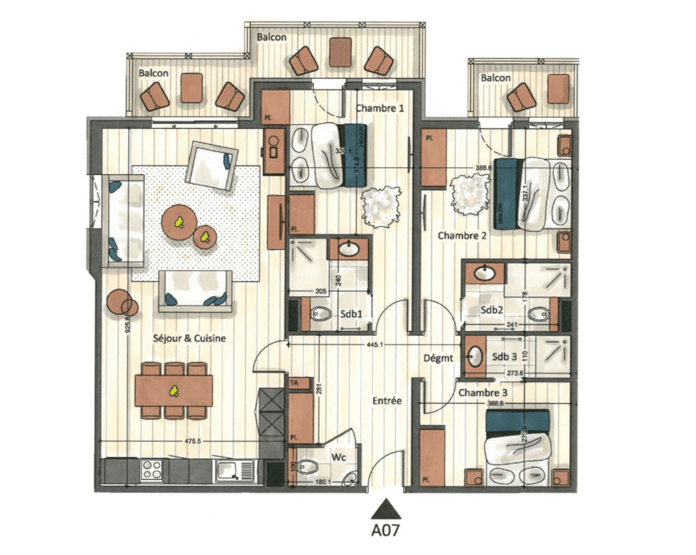 Manali Lodge 3 Bedroom Kangto Suite Floor Plan