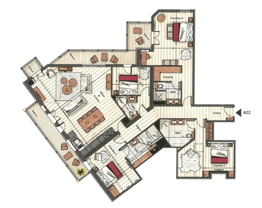 Manali Lodge 4 Bedroom Signature Suite Makalu Floor Plan