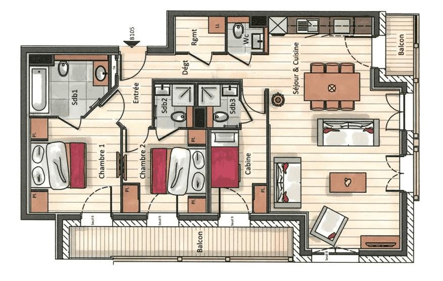 Residence Annapurna 3 Bedroom Apartment B105 Floor Plan